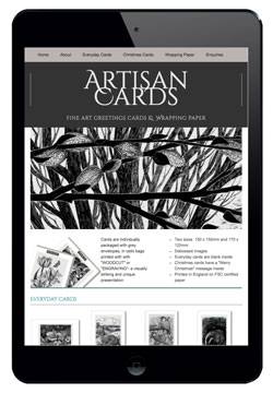 Artisan Cards website designed by Piefinch