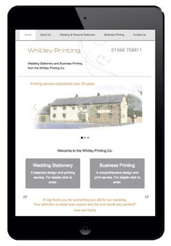 Whitley Printing website designed by Piefinch
